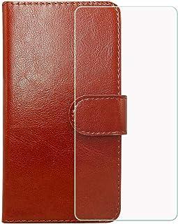 LMLQSZ Mobiltelefonskal för Wiko Y62 Plus + pansarglas, HD härdat glas skärmskydd – läder flip plånboksfodral skyddsfodral...