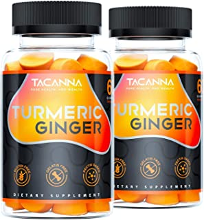 Tacanna Turmeric Ginger Gummies [2 Pack] Total 120 Count - Curcumin Joint Support - Pain Relief, Antioxidant, Anti-inflamm...