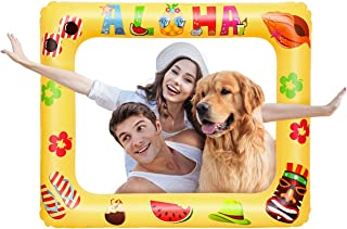 Amosfun Luau Photo Props Luau Hawaiian Photo Booth Props Tropical Party Decoration Inflatable Picture Frame Blow Up Photo Booth Props Selfie Picture Frame