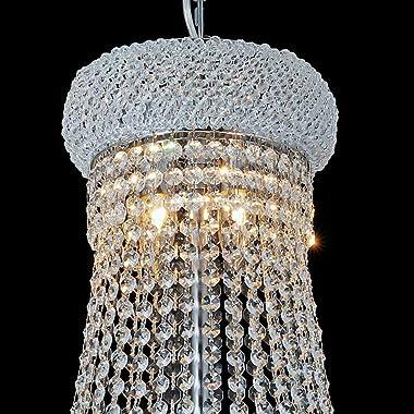 "KOUGER E1214 Flush Mount K9 Crystal Modern Chandelier Lighting Chrome Finish Classic Empire Style 31.5"" H x 24"" W Cry"