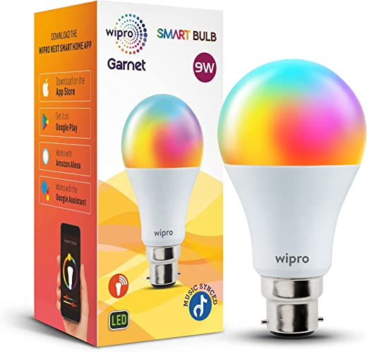 wipro 9-Watt B22 WiFi Smart LED Bulb with Music Sync (16 Million Colours + Warm White/Neutral White/White) (Compatible with Amazon Alexa and Google Assistant), Standard (NS9400)
