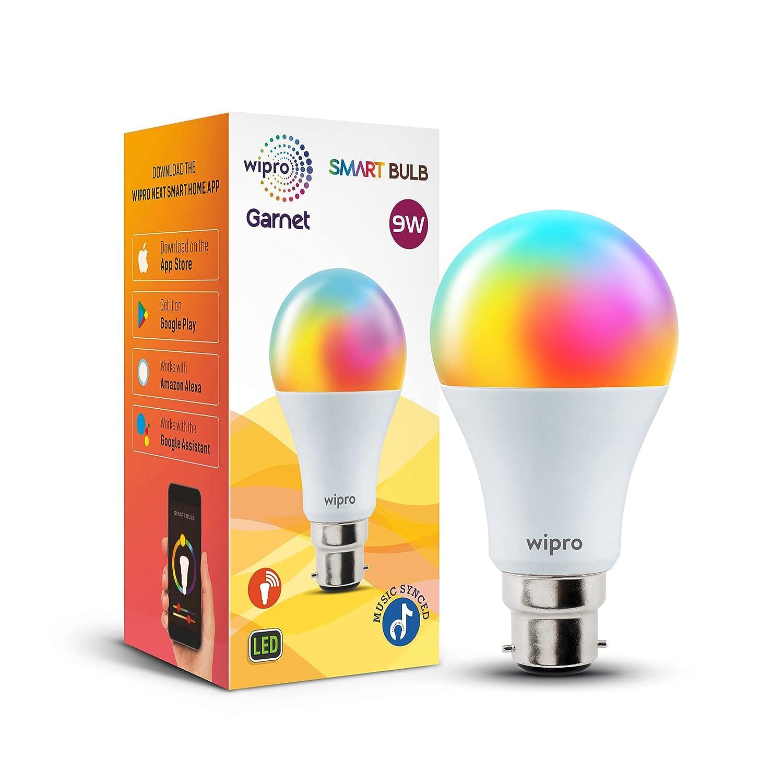 Wipro 9-Watt B22 WiFi Smart LED Bulb with Music Sync (16 Million...