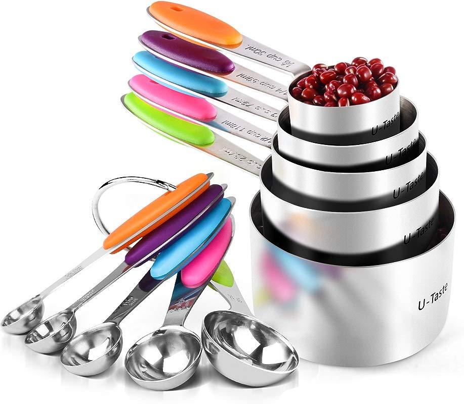 U Taste 10 Piece Measuring Cups And Spoons Set In 18 8 Stainless Steel