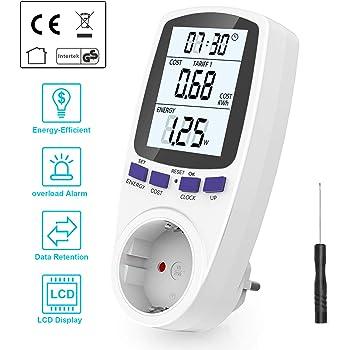 Gifort Medidor de consumo de corriente del medidor de energía para zócalo con protección de sobrecarga de pantalla digital LCD: Amazon.es: Bricolaje y herramientas