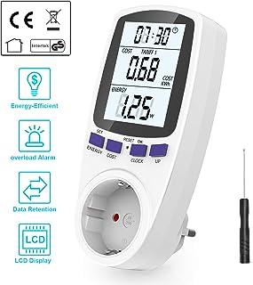 Gifort Medidor de consumo de corriente del medidor de energía para zócalo con protección de sobrecarga de pantalla digital LCD