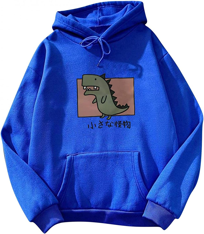 Toeava Hoodies for Women, Women's Cute Dinosaur Print Drawstring Hooded Sweatshirt Long Sleeve Pullover with Pocket