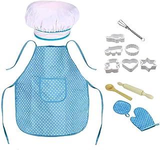 مجموعة أزياء الطهاة للأطفال من ديلفينو، مجموعة طبخ وخبز الأطفال مع مريلة، وقبعة الشيف، وبطاقات الوصفات، وقفاز طبخ، وأواني ...