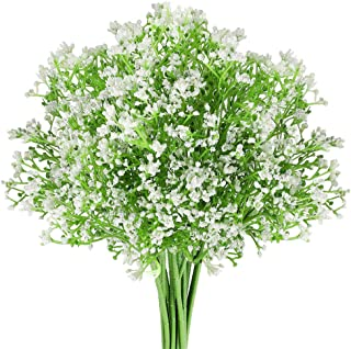 16 Pcs Artificial Flowers Babies Breath Flowers Plastic Flowers Bouquets Faux Flower Stems Fake Gypsophila Plants Flowers for Weddings, Home Decorate