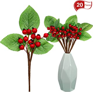 20 Pack Berry Picks Decorations Artificial Berry Picks for Christmas Flower Arrangements Wreaths and Holiday Decorations