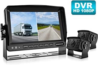 Fookoo ? HD 1080P Backup Camera System Kit,7'' DVR Dual Split Screen Monitor, IP69 Waterproof Rear View Camera for Truck/Semi-Trailer/Box Truck/RV, Sharp CCD Chip,100% Not Wash Up (FHD2-Wired)