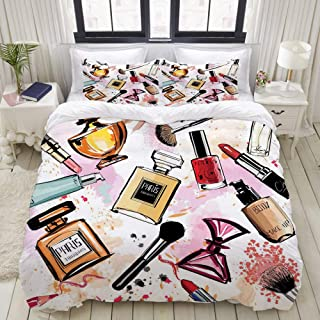 VANKINE 3PC Bedding Set Cosmetic and Makeup Theme Pattern with Perfume Lipstick Nail Polish Brush Modern 1 Duvet Cover with 2 Matching Pillowcases Home Bedroom Decor King