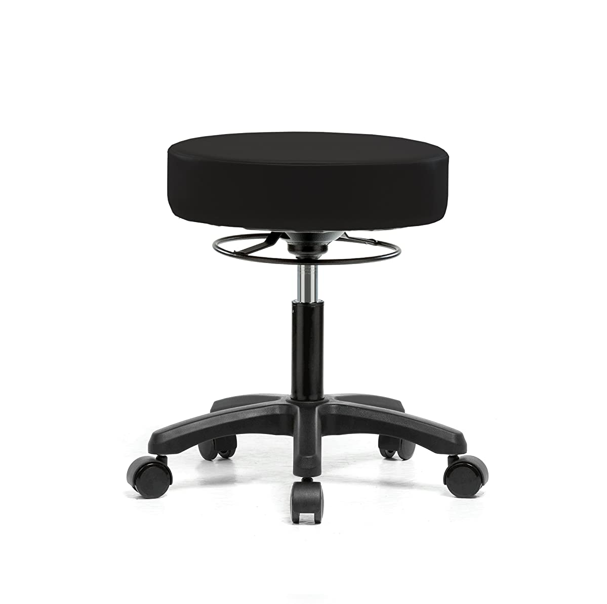 PERCH Life Rolling Height Adjustable Stool for Hardwood & Tile | Desk Height 18-23 inches | 250-pound Weight Capacity | 12 Year Warranty (Black Vinyl)