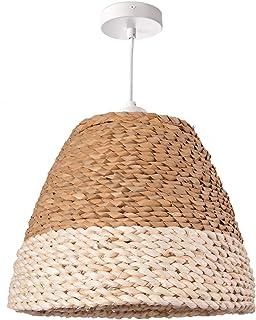 Paco Home Lámpara De Techo LED Suspendida Salón Y Dormitorio, Hierba, Decoración E27, Pantalla de lámpara:Beige/Blanco (Ø34 cm), Tipo de lámpara:Lámpara Colgante Blanco + Bombilla