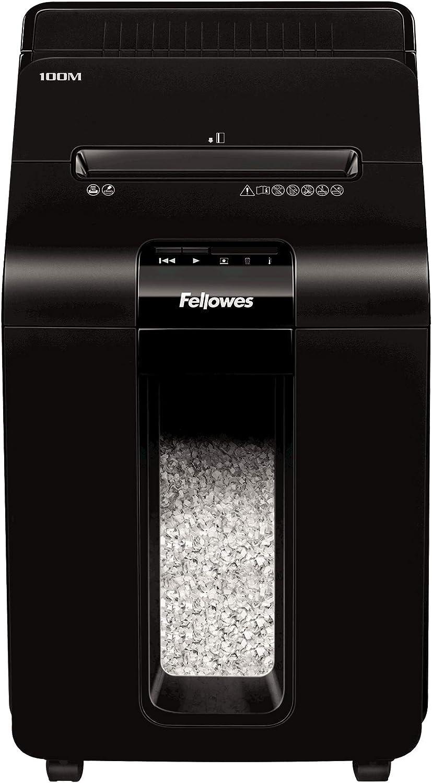 Fellowes AutoMax 100M, Automatischer Aktenvernichter für 100 Blatt (10 Blatt manuell), Mini-Cut (P-4), SilentShred, für Homeoffice und Kleinbüro