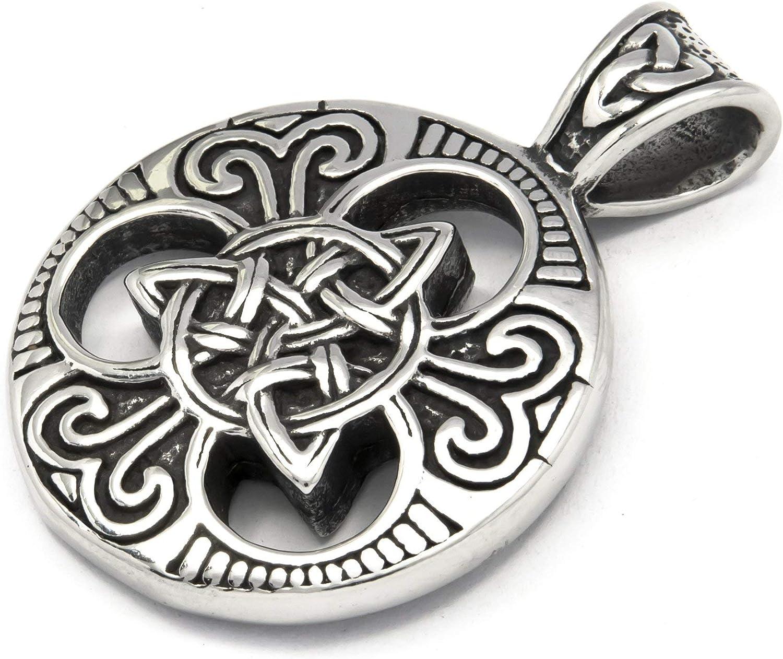 GUNGNEER Celtic Interwoven Triquetra Medallion Pendant Necklace Love Infinity Stainless Steel Jewelry Men Women