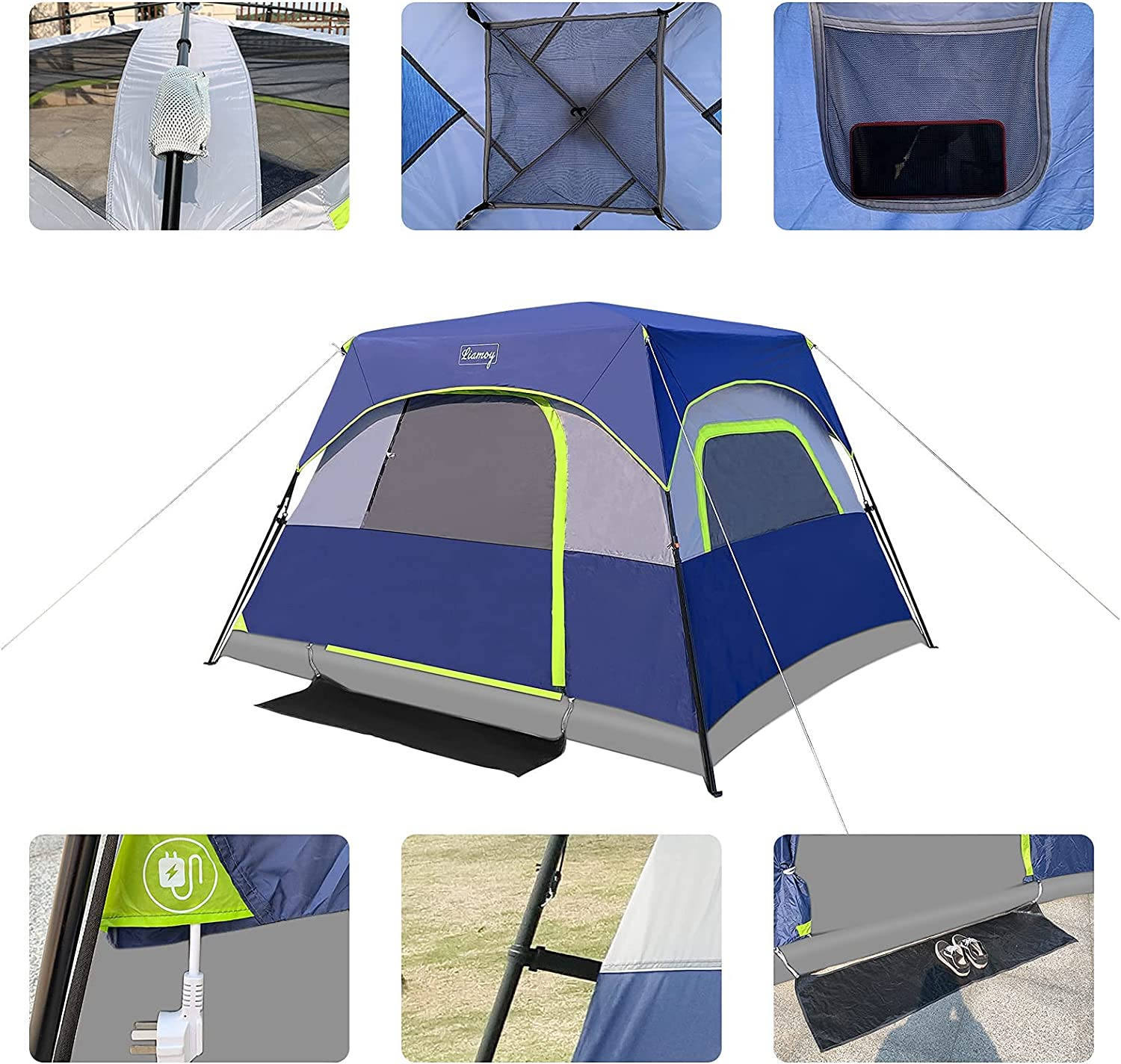 Buy 6 Person Tent Instant For Camping Waterproof Windproof Family 60 Seconds Easy Setup Cabin Tent With Top Rainfly Double Layer 4 Large Mesh Windows 2 Mesh Door Provide 2 Pcs Gate Mat Camping Tent 10 X9 X78 H Online In Indonesia