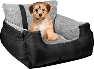 Utotol Pet Car Seat,Puppy Booster Seat Dog Travel Car Carrier Bed with Storage Pocket and Clip-on Safety Leash Removable W...