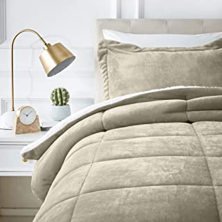 AmazonBasics Ultra-Soft Micromink Sherpa Comforter Bed Set - Twin, Taupe