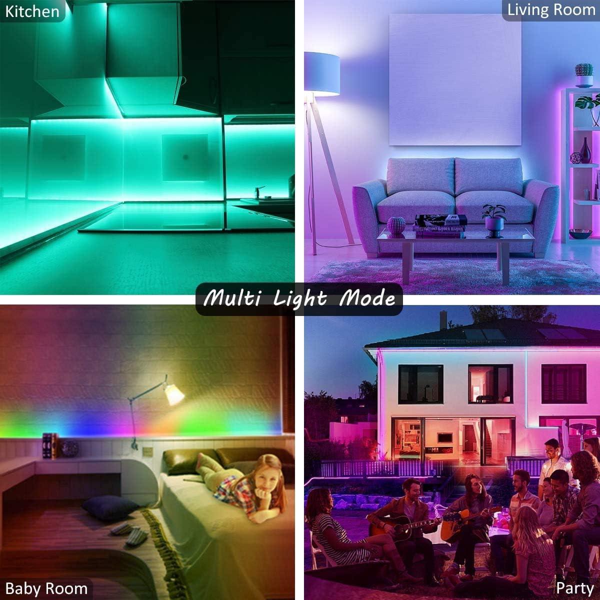Camera da letto Decorazioni per feste e per la casa L8star Led Striscia 5m Strisce Luminose con Controller Bluetooth Sincronizza con la Musica Adatto per TV 5m Striscia Led