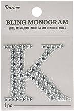 """Darice 30053485"""""""" Letter K Bling Monogram Sticker, Silver"""