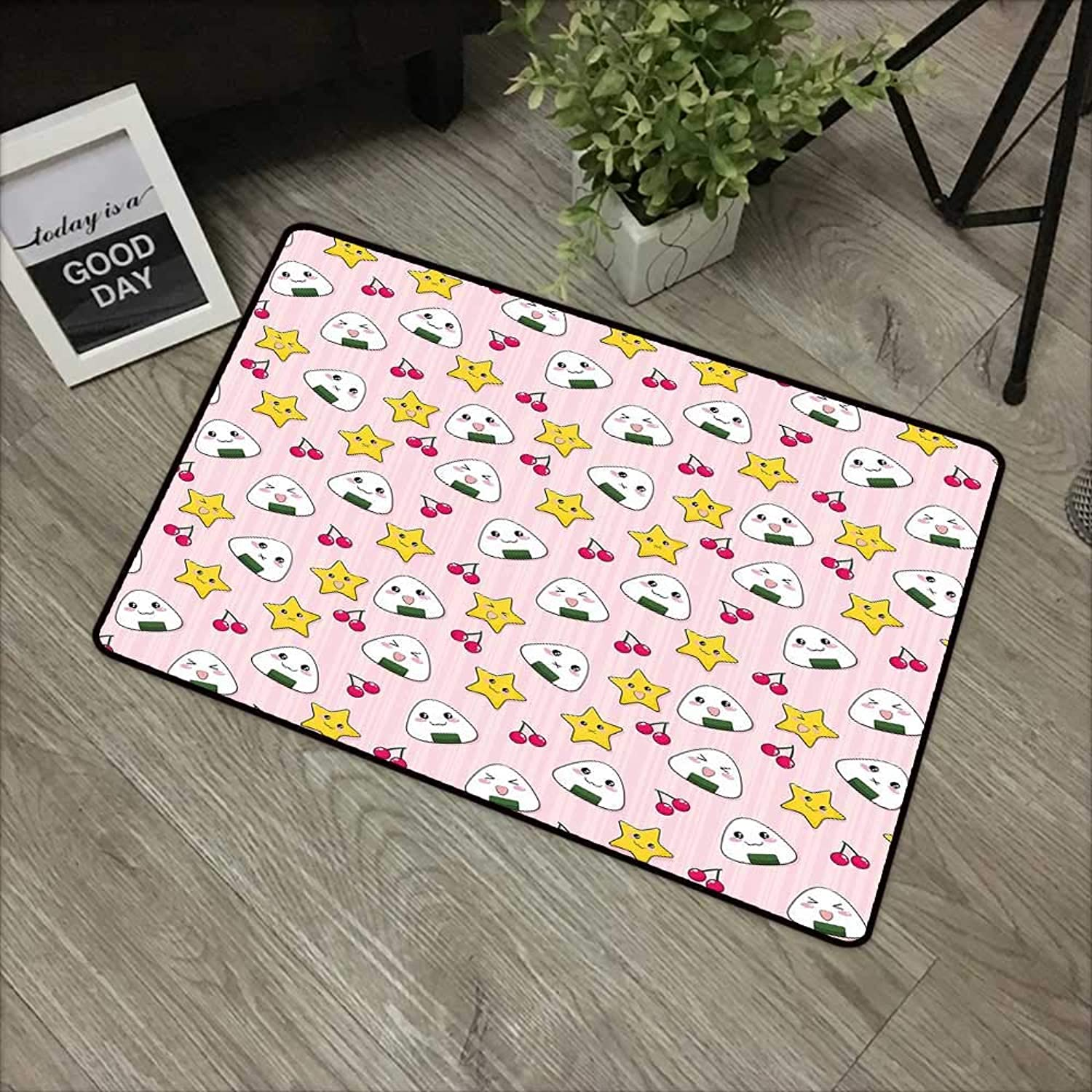 Bathroom mat W35 x L59 INCH Kids,Cute Japanese Food Icons Rice Ball Cherries Asian Kawaii Anime Pattern Design,Pink Multicolor Non-Slip, with Non-Slip Backing,Non-Slip Door Mat Carpet
