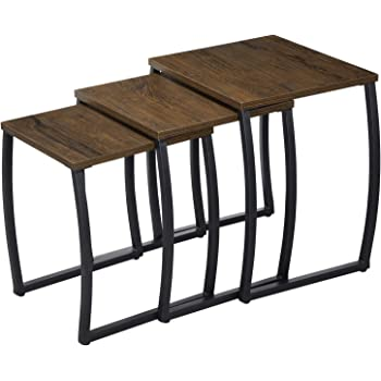 vidaXL Nesting Table Set 3 Pieces,Living Room Coffee Table Tables Nightstands Vintage Night Tables for Bedroom Home Office Telephone,Colorful Reclaimed Teak