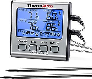 ThermoPro TP17 Thermomètre pour Viande Numérique à Double Sonde avec Grand Écran LCD Rétroéclairé Thermomètre de Cuisson B...