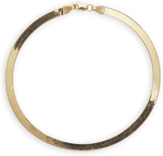 "10k Yellow Gold Super Flexible Silky Herringbone Chain Bracelet, 0.16"" (4mm)"