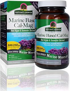 Nature's Answer Marine Based Calcium Magnesium, Super Concentrated 500mg | Plant Based | Red Algae & Seawater Derived | Al...