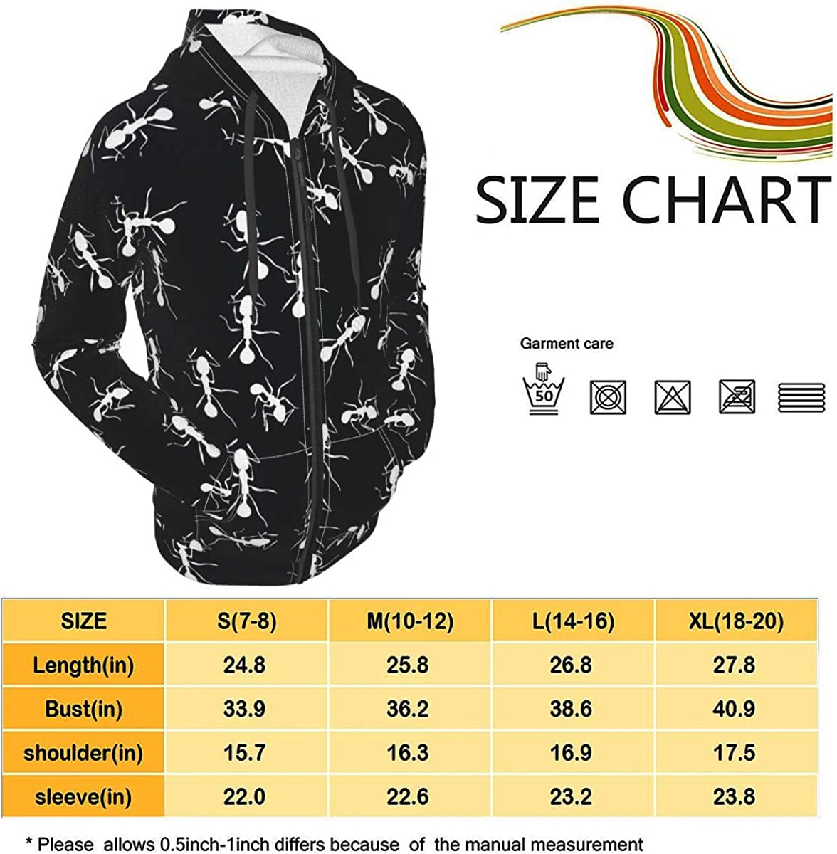 White Ants in Black Kids & Youth Full-Zip Fleece Hoodie Boys Graphic Hooded Sweatshirt Jacket Pockets