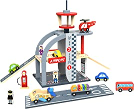 TOYSTER'S My Airport Wooden Playset for Toddlers | Wood Cars and Airplane Toys for Kids | Montessori Educational Toy Delivers Hours of Interactive Fun | Play Set for Boys and Girls 3 and Up