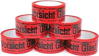 Paketband Vorsicht Glas zerbrechlich 5cm x 66m in rot 6 Rollen - Vorsicht Glas Paketband extra stark - Klebeband mehrsprachig für fragile und zerbrechliches Glas - Paketklebeband als Rollenset