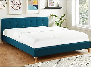 HOMIFAB Lit Adulte avec tête de lit capitonnée en Tissu Bleu Canard - sommier à Lattes 160x200cm - Collection Milo