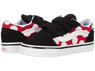 Vans Kids Old Skool V (Infant/Toddler) ((Polka Dot) Red/True White) Girls Shoes