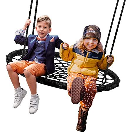 Waterproof 600 lb Weight Capacity Royal Oak Giant 40 Spider Web Tree Swing Durable Steel Frame Bonus Flag Set and 2 Carabiners Non-Stop Fun for Kids! Adjustable Ropes