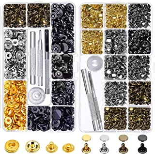 Snap Buttons and Leather Rivets, Anezus 120 Set Leather Snap Fasteners Kit and 240 Sets Leather Rivets with Setting Tools ...