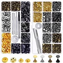 Snap Buttons and Leather Rivets, Anezus 120 Set Leather Snap Fasteners Kit and 240 Sets Leather Rivets with Setting Tools for Leather Craft Repairs Decoration