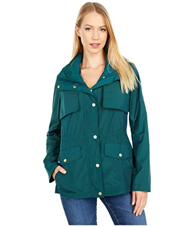 Cole Haan Travel Packable Zip Front Jacket with Front Placket and Snaps (Pine) Women