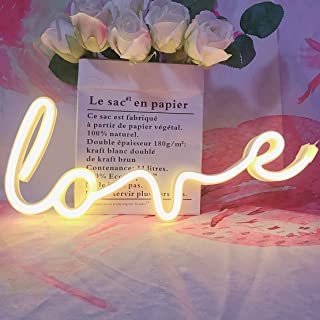 QiaoFei Neon Art Love Signs Light LED Love Kids Gift-Decorative Marquee Sign for Wall Room Wedding Party Bar Pub Hotel Beach Recreational (Warm White)