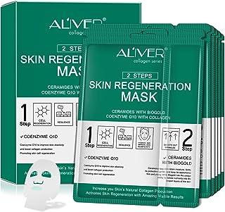 Paquete de 5 mascarillas faciales hidratantes,rejuvenecedoras de colágeno,esencia completa, hidratantes faciales,ácido hialurónico, vitamina C,iluminación, piel firme, antienvejecimiento,antiarrugas