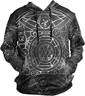 Black Zodiac Alchemy Hoodie 3D Sweatshirts Hooded Kangaroo Pocket Drawstring Pullover Long Sleeve for Boy Girl