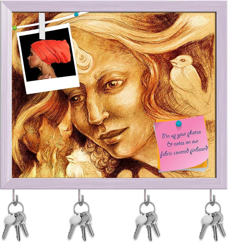 Artzfolio Fairy Woman Face Key Holder Hooks   Notice Pin Board   White Frame 19.4 X 16Inch