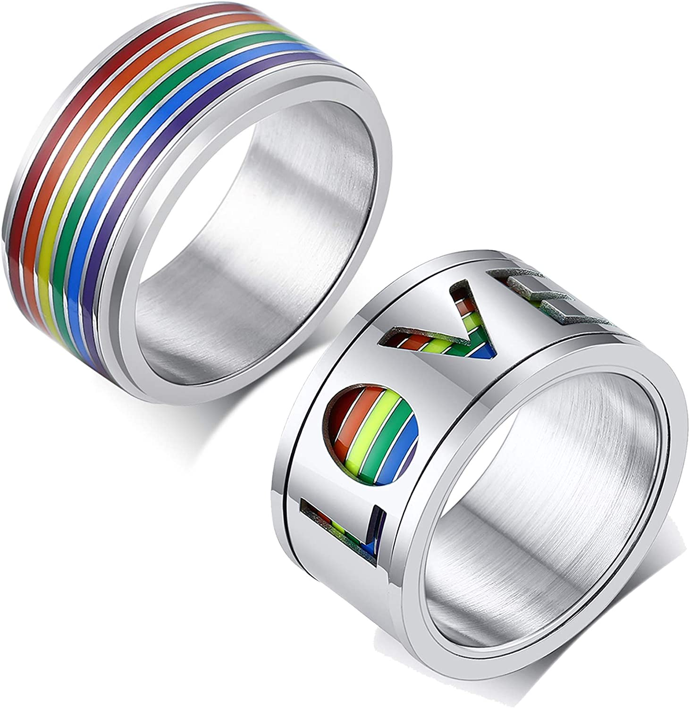 store VNOX Gay Lesbian Pride Popular product Rainbow Spinner Ring Fidget Anxiety Rings
