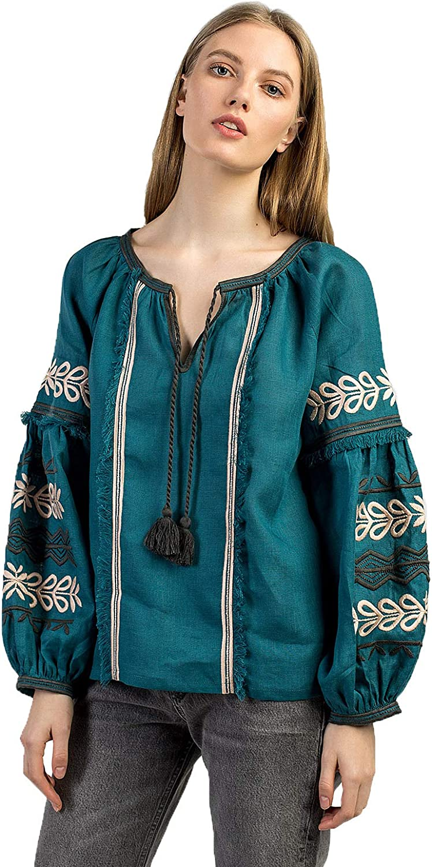 ETNODIM Ukrainian Ethnic Embroidered Linen Shirt Vyshyvanka Long Sleeve Yellow Tops Modern bluee Blouse Safari