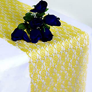 SARVAM FASHION Pack of 10 Wedding 12 x 108 inch Lace Table Runner for Wedding Banquet Decor Table Lace Runner - (10, Yellow)