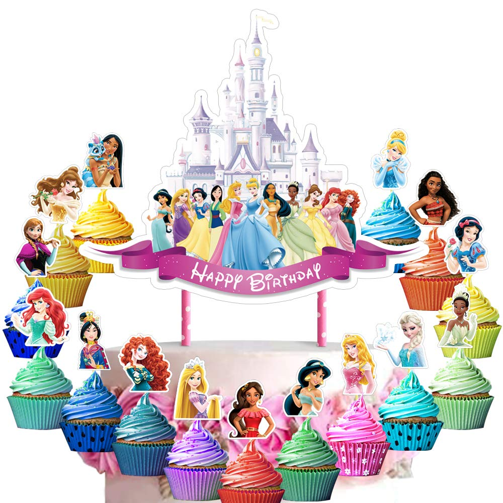 31 Decorations for Princess Cake Topper Cupcake Toppers Set Birthday Party Supplies Decor