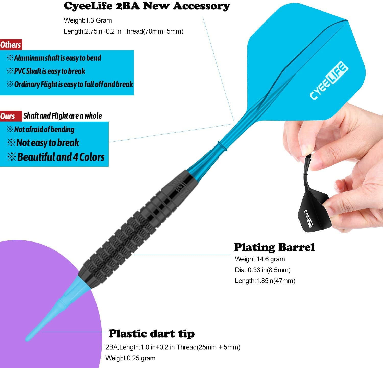 CyeeLife 12 St/ück 16gr Neue sehr stabile biegsame Kunststoffsch/äfte mit 100 Spitzen und Darttool Soft Dartpfeile in 4 trendigen Farben