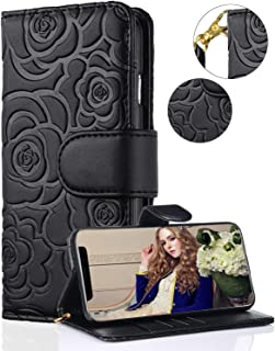 iPhone 11 Wallet Case,FLYEE Premium Leather [Embossed Flower] Flip case Kickstand Closure Magnetic Protective Cover with Card Slots and Detachable Wrist Strap for Apple iPhone 11 6.1 inch [Black]