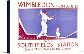 Wimbledon Vintage Poster (artist: Black) England c. 1925 (36x22 1/8 Gallery Wrapped Stretched Canvas)