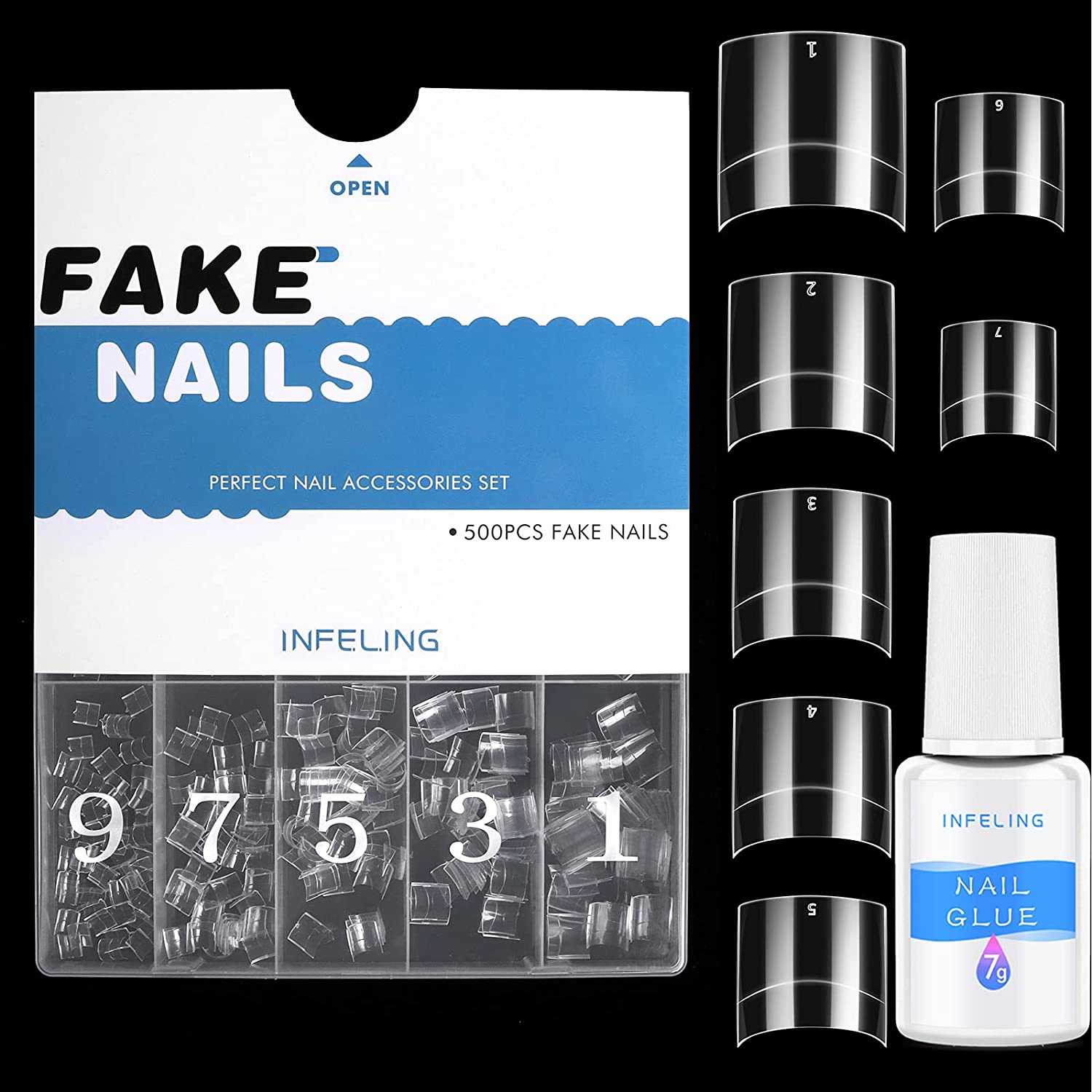 Max 58% Financial sales sale OFF Short Nail Tips and Glue - Nails Clear for Acrylic 50